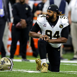 Oct 8, 2018; New Orleans, LA, USA; New Orleans Saints defensive end Cameron Jordan (94) against the Washington Redskins before a game at the Mercedes-Benz Superdome. Mandatory Credit: Derick E. Hingle-USA TODAY Sports