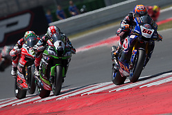 June 17, 2017 - Misano Adriatico, Italy - Battle for the first place between Michael Van Der Mark of Pata Yamaha Official WorldSBK Team and Jonathan Rea of Kawasaki Racing Team during the race 1 of the Motul FIM Superbike Championship, Riviera di Rimini Round, at Misano World Circuit ''Marco Simoncelli'', on June 17, 2017 in Misano Adriatico, Italy  (Credit Image: © Danilo Di Giovanni/NurPhoto via ZUMA Press)