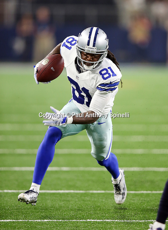Dallas Cowboys wide receiver Clydes Gates (81) runs with the ball as he catches a fourth quarter pass for a first down at the Houston Texans 5 yard line during the 2015 NFL preseason football game against the Houston Texans on Thursday, Sept. 3, 2015 in Arlington, Texas. The Cowboys won the game 21-14. (©Paul Anthony Spinelli)