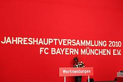 30.11.2010, Olympiahalle, Muenchen, GER, 1.FBL, Jahreshauptversammlung FC Bayern, im Bild Schriftzug  , EXPA Pictures © 2010, PhotoCredit: EXPA/ nph/  Straubmeier       ****** out ouf GER ******