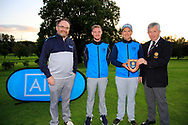 Dermot Rollins of Rollings Insurance Brokers (AIG)(L) and John White Ulster Golf (R) present the runner-up plague to Warrenpoint Team Captain Colm Campbell after the AIG Junior Cup Ulster Final in Lisburn Golf Club, Lisburn, Down, Northern Ireland. 31/08/2019.<br /> Picture Fran Caffrey / Golffile.ie<br /> <br /> All photo usage must carry mandatory copyright credit (© Golffile | Fran Caffrey)