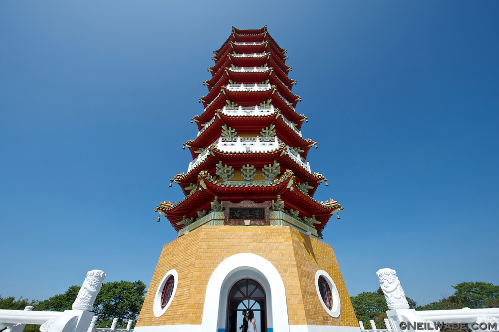 The beautiful Cien Pagoda stands towers above Sun Moon Lake in Cantral Taiwan.