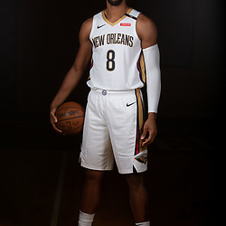 Sep 24, 2018; New Orleans, LA, USA; New Orleans Pelicans center Jahlil Okafor (8) poses for a portrait during Media Day at Ochsner Performance Center. Mandatory Credit: Derick E. Hingle-USA TODAY Sports
