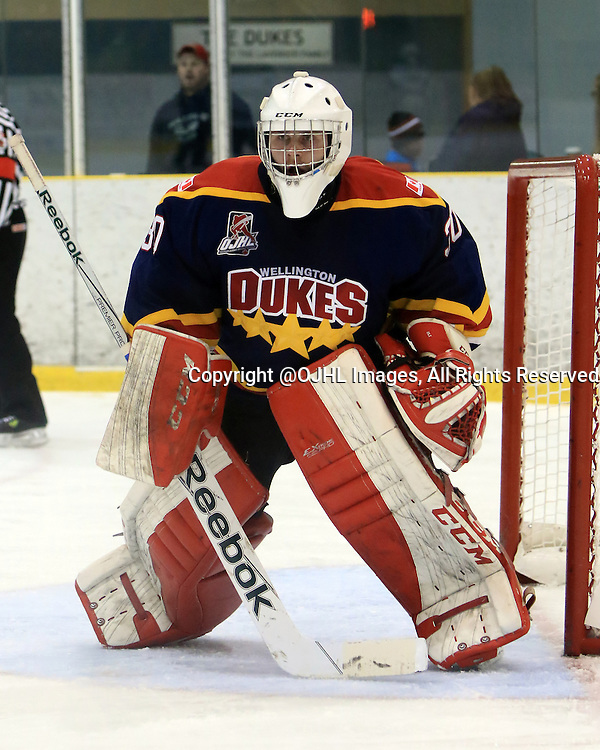 WELLINGTON, ON - Oct 11, 2015 : Ontario Junior Hockey League game action between Cobourg and Wellington<br /> , Olivier Lafreniere #30 of the Wellington Dukes during the second period<br /> (Photo by Ed McPherson / OJHL Images)