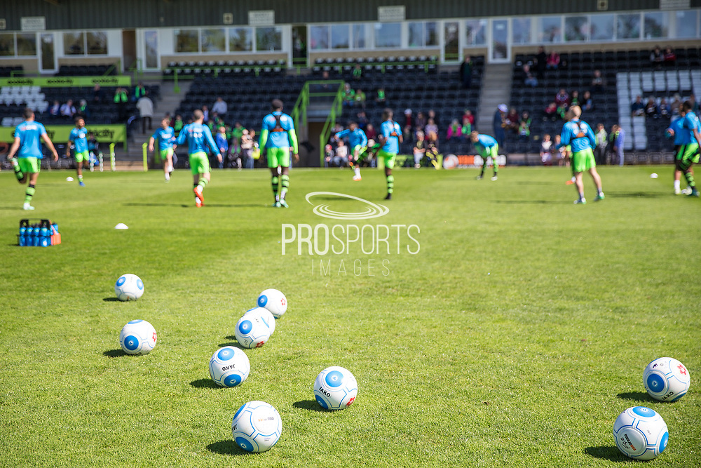 FGR players warming up during the Vanarama National League match between Forest Green Rovers and Maidstone United at the New Lawn, Forest Green, United Kingdom on 22 April 2017. Photo by Shane Healey.