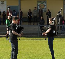 Christopher McNally and Katie Hogan members of the Clew Bay Pipe band  playing the national anthem before the junior championship match against Killala on saturday evening last.<br /> Pic Conor McKeown