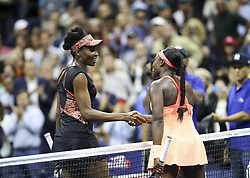NEW YORK, Sept. 8, 2018  Venus Williams of the United States (L) shakes hands with her compatriot Sloane Stephens after their semifinal match of the Women's Singles of the 2017 US Open tennis tournament in New York, the United States, Sept. 7, 2017. Sloane Stephens won 2-1. (Credit Image: © Wang Ying/Xinhua via ZUMA Wire)