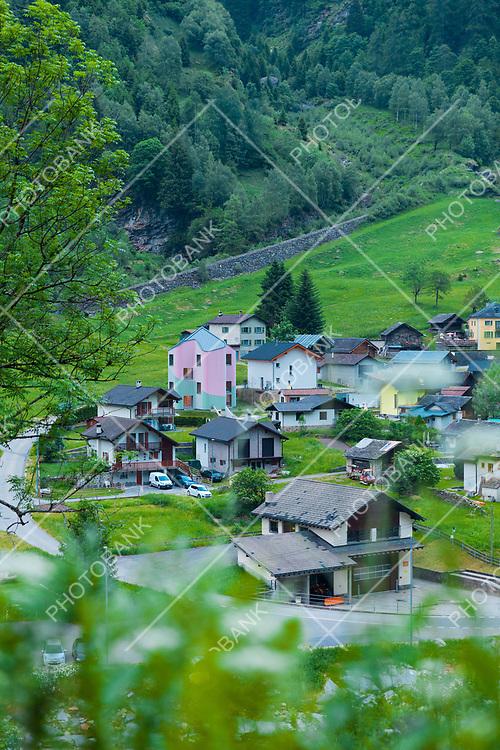 Landscape of Rossa valley in canton Grisons, Switzerland