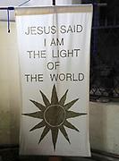 Religious banner inside Church of Saint Mary, Coddenham, Suffolk, England, UK - Jesus the light of the world