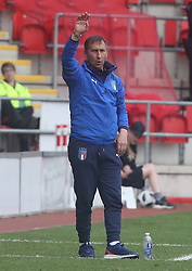 May 17, 2018 - United Kingdom - Carmine Nunziata Head Coach of Italy Under 17.during the UEFA Under-17 Championship Semi-Final match between Italy U17s against Belgium U17s at New York Stadium, Rotherham United FC, England on 17 May 2018. (Credit Image: © Kieran Galvin/NurPhoto via ZUMA Press)