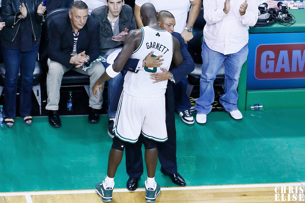 03 May 2013: Boston Celtics center Kevin Garnett (5) is congratulated by Boston Celtics head coach Doc Rivers at the end of the New York Knicks 88-80 victory over the Boston Celtics during Game Six of the Eastern Conference Quarterfinals of the 2013 NBA Playoffs at the TD Garden, Boston, Massachusetts, USA.