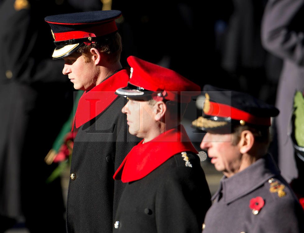 © London News Pictures. 10/11/2013. London, UK. L to R Prince Harry, Prince Edward, Earl of Wessex and Prince Edward, Duke of Kent, attend a Remembrance Day Ceremony at the Cenotaph war memorial in London, United Kingdom, on November 10, 2013 . Royalty and Politicians joined the rest of the county in honouring the war dead by gathering at the iconic memorial to lay wreaths and observe two minutes silence. Photo Credit: Ben Cawthra/LNP