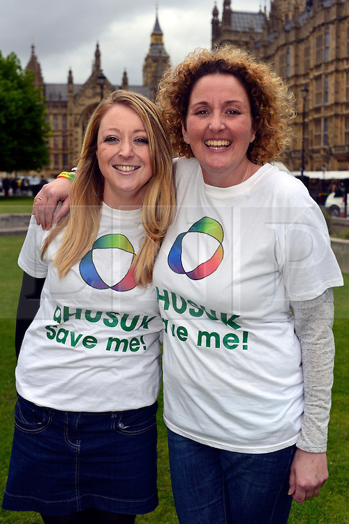 © Licensed to London News Pictures. 14/05/2013. Westminster, UK Elena Lilley, Emma Woodward. Patients campaigning for a life-saving treatment to be made available for all sufferers of the rare blood disease atypical Haemolytic Uraemic Syndrome (aHUS) present an urgent petition with over 30,000 signatures to MPs at the House of Commons on Tuesday May 14 2013... Photo credit : Stephen Simpson/LNP