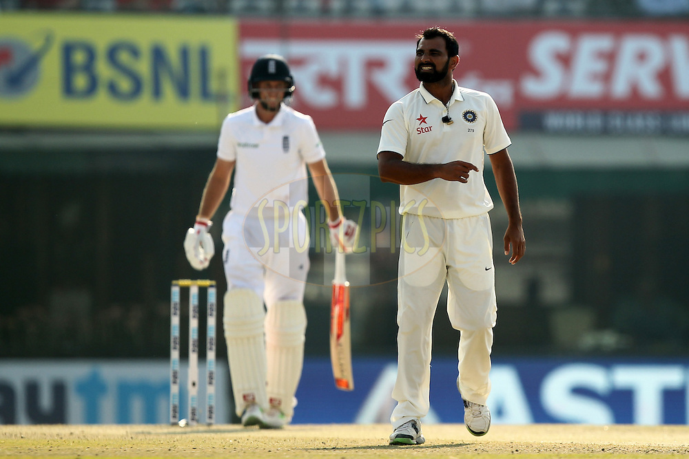 Mohammad Shami of India reacts during day 3 of the third test match between India and England held at the Punjab Cricket Association IS Bindra Stadium, Mohali on the 28th November 2016.Photo by: Prashant Bhoot/ BCCI/ SPORTZPICS