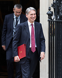 Image ©Licensed to i-Images Picture Agency. 08/07/2014. London, United Kingdom. Cabinet meeting departures. Philip Hammond leaves No10 after cabinet meeting this morning. 10 Downing Street. Picture by Daniel Leal-Olivas / i-Images
