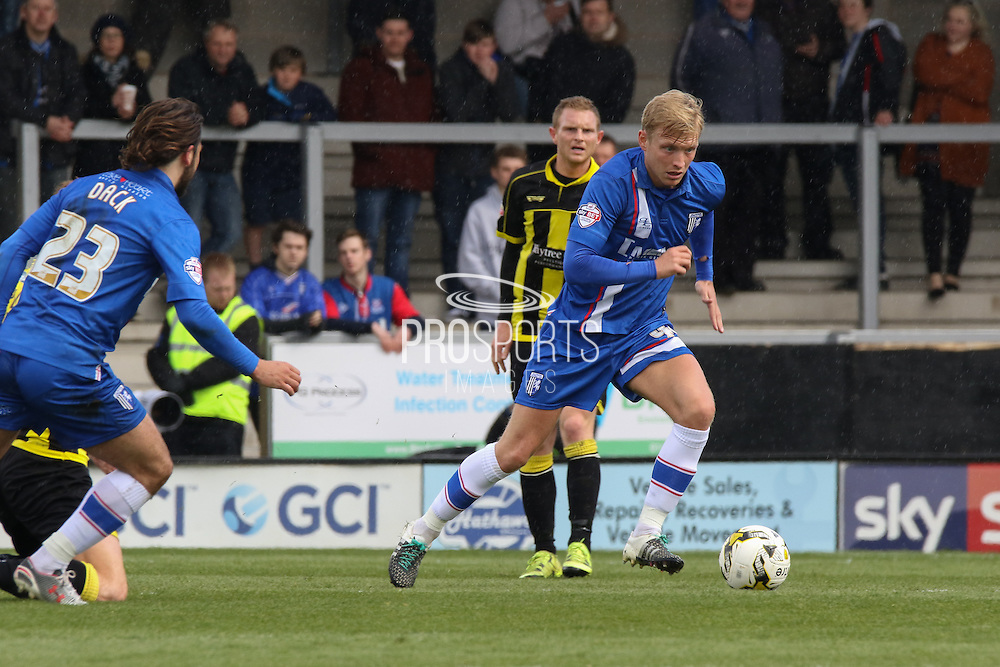 Gillingham midfielder Josh Wright charges forward during the Sky Bet League 1 match between Burton Albion and Gillingham at the Pirelli Stadium, Burton upon Trent, England on 30 April 2016. Photo by Aaron  Lupton.