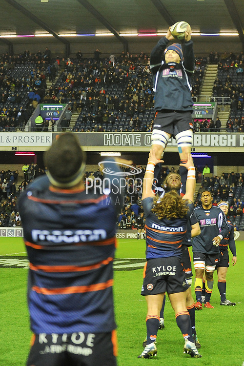 Lineout practice for Edinburgh forwards ahead of the 1872 Challenge Cup, Guinness Pro 14 2018_19 match between Edinburgh Rugby and Glasgow Warriors at BT Murrayfield Stadium, Edinburgh, Scotland on 22 December 2018.