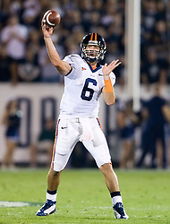 Virginia quarterback Marc Verica (6) delivers a pass against UCONN - Verica, in his first career start was 22 for 30, throwing for 158 yards with 1 INT.  The Connecticut Huskies defeated the Virginia Cavaliers 45-10 in NCAA football at Rentschler Field in East Hartford, CT on September 13, 2008.