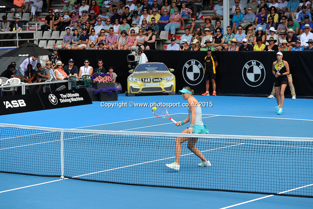 Czech players Lucie Hradecka and Andrea Hlavackova during their Doubles Semi Finals match of the ASB Classic Women's International. ASB Tennis Centre, Auckland, New Zealand. Friday 9 January 2015. Copyright photo: Chris Symes/www.photosport.co.nz
