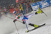 Jan 27 2009; Schladming Austria, HOROSHILOV Alexandr (RUS) crashing out of The Night Race a men's slalom ski race part of the Audi FIS Alpine Ski World cup. The race was won by HERBST Reinfried (AUT).  Mandatory credit: sportsphotographer.eu