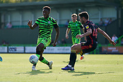 Ebou Adams of Forest Green Rovers under pressure during the EFL Sky Bet League 2 match between Forest Green Rovers and Stevenage at the New Lawn, Forest Green, United Kingdom on 21 September 2019.