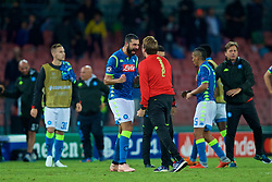 NAPLES, ITALY - Wednesday, October 3, 2018: Napoli's Napoli's Raúl Albiol celebrates his side's 1-0 victory during the UEFA Champions League Group C match between S.S.C. Napoli and Liverpool FC at Stadio San Paolo. (Pic by David Rawcliffe/Propaganda)