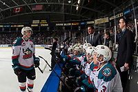 KELOWNA, CANADA - JANUARY 4:  Kelowna Rockets' head coach stands on the bench and speaks to Kaedan Korczak #6 of the Kelowna Rockets against the Prince George Cougars on January 4, 2019 at Prospera Place in Kelowna, British Columbia, Canada.  (Photo by Marissa Baecker/Shoot the Breeze)