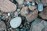 Patterns of pebbles on a seculded pebble beach on Mount Desert Island