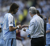 Photo: Aidan Ellis.<br /> Manchester City v West Ham United. The Barclays Premiership. 23/09/2006.<br /> City's Georgios Samaras gets some tablets from the doctor during the first half