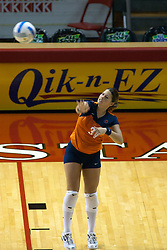 26 Aug 2005<br /> <br /> Illini Libero Beth Vrdsky serves.<br /> <br /> The Illini beat the Redbirds in the seasons opener for both team in 5 games 30-24, 30-19, 23-30, 30-21, 15-11.  Redbird Areana, Illinios State University, Normal, IL