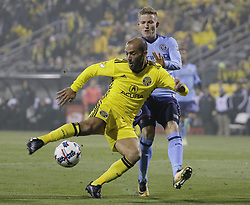 October 31, 2017 - Columbus, OH, USA - Columbus Crew forward Federico Higuain (10) takes a shot past New York City FC midfielder Alexander Ring (8) during the first half of an MLS Eastern Conference Semifinal playoff game against the New York City FC in Columbus, Ohio, on Tuesday, Oct. 31, 2017. (Credit Image: © Adam Cairns/TNS via ZUMA Wire)