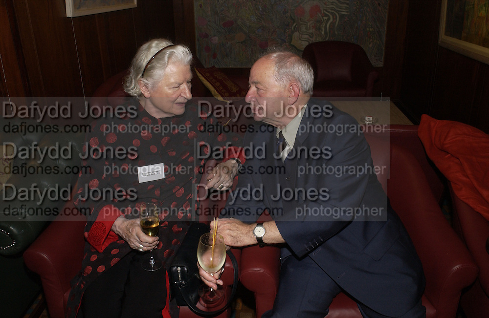 Baroness P.D. James and Colin Dexter. 70th anniversary of the RNIB Talking `book service. Arts Club. Dover St. London.  8 November 2005 . ONE TIME USE ONLY - DO NOT ARCHIVE © Copyright Photograph by Dafydd Jones 66 Stockwell Park Rd. London SW9 0DA Tel 020 7733 0108 www.dafjones.com