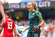 Manchester City Women goalkeeper Ellie Roebuck (26) reacts during the FA Women's Super League match between Manchester City Women and Manchester United Women at the Sport City Academy Stadium, Manchester, United Kingdom on 7 September 2019.
