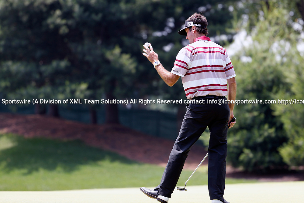 CROMWELL, CT - JUNE 23: Bubba Watson thanks the crowd on 8 during the second round of the Travelers Championship on June 23, 2017, at TPC River Highlands in Cromwell, Connecticut. (Photo by Fred Kfoury III/Icon Sportswire)