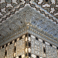 Asia, India, Amer. Architectural detail of Mirror Palace at Amber Palace.