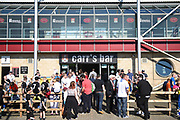 """Fans having a beer outside Sixfields Stadium """"Carrs Bar"""" during the EFL Sky Bet League 1 match between Northampton Town and Oldham Athletic at Sixfields Stadium, Northampton, England on 5 May 2018. Picture by Dennis Goodwin."""