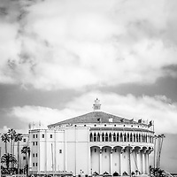 Catalina Casino black and white vertical picture with copy space. The Avalon Casino is a historic art deco movie theatre built in 1929 by the Wrigley family. Catalina Island is a popular travel desination off the coast of Southern California in the United States.