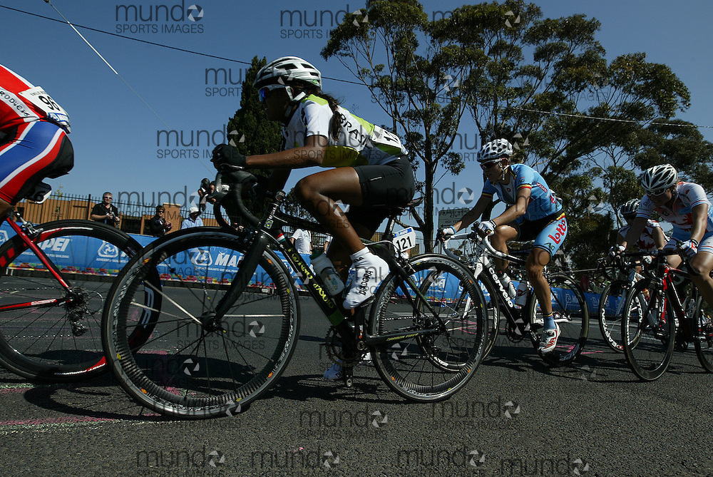 (Geelong, Australia---2 October 2010) Marcia Fernandes Silva of Brazil climbs a hill during the Elite Women's Road Race at the 2010 UCI Road World Championships.  [2010 Copyright Sean Burges / Mundo Sport Images -- www.mundosportimages.com]