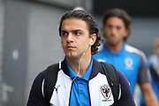 AFC Wimbledon attacker Egli Kaja (21) arriving for the game during the EFL Trophy match between Barnet and AFC Wimbledon at Underhill Stadium, London, England on 29 August 2017. Photo by Matthew Redman.