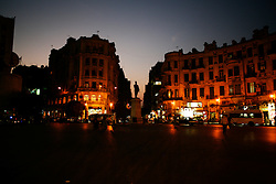Downtown Cairo's Talaat Harb Square at night.
