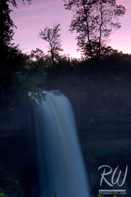 Minnehaha Falls at Dusk, Minneapolis, Minnesota