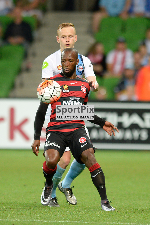 Romeo Castelen of Western Sydney Wanderers FC, Jack Clisby of Melbourne City - Hyundai A-League, January 9th 2016, RD14 match between Melbourne City FC v Western Sydney Wanderers FC at Aami Park in a 3:2 win to City. Melbourne, Australia. © Mark Avellino | SportPix.org.uk