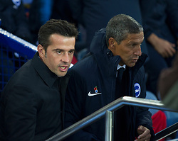 Everton manager Marco Silva (L) and Brighton and Hove Albion manager Chris Hughton - Mandatory by-line: Jack Phillips/JMP - 03/11/2018 - FOOTBALL - Goodison Park - Liverpool, England - Everton v Brighton and Hove Albion - English Premier League