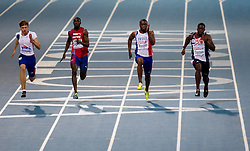 Christophe Lemaitre of France, Jaysuma Saidy Ndure of Norway, Martial Mbandjock of France and Dwain Chambers of Great Britain compete during the Mens 100m Final during day two of the 20th European Athletics Championships at the Olympic Stadium on July 28, 2010 in Barcelona, Spain. (Photo by Vid Ponikvar / Sportida)
