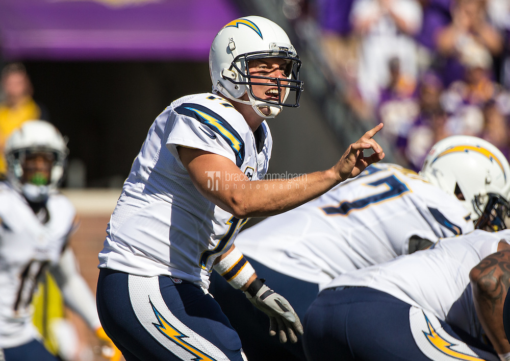 Sep 27, 2015; Minneapolis, MN, USA; San Diego Chargers quarterback Philip Rivers (17) calls a play during the first quarter against the Minnesota Vikings at TCF Bank Stadium. Mandatory Credit: Brace Hemmelgarn-USA TODAY Sports