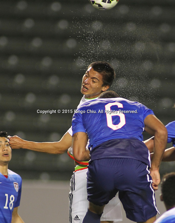 Mexico's Pedro Ter‡n #13 actions against United States' Christian Dean #6 during a men's national team international friendly match, April 22, 2015, at StubHub Center in Carson, California. United States won 3-0. (Photo by Ringo Chiu/PHOTOFORMULA.com)
