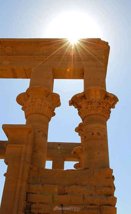 Detail of architecture at the Temple of Philae in Aswan, Egypt.