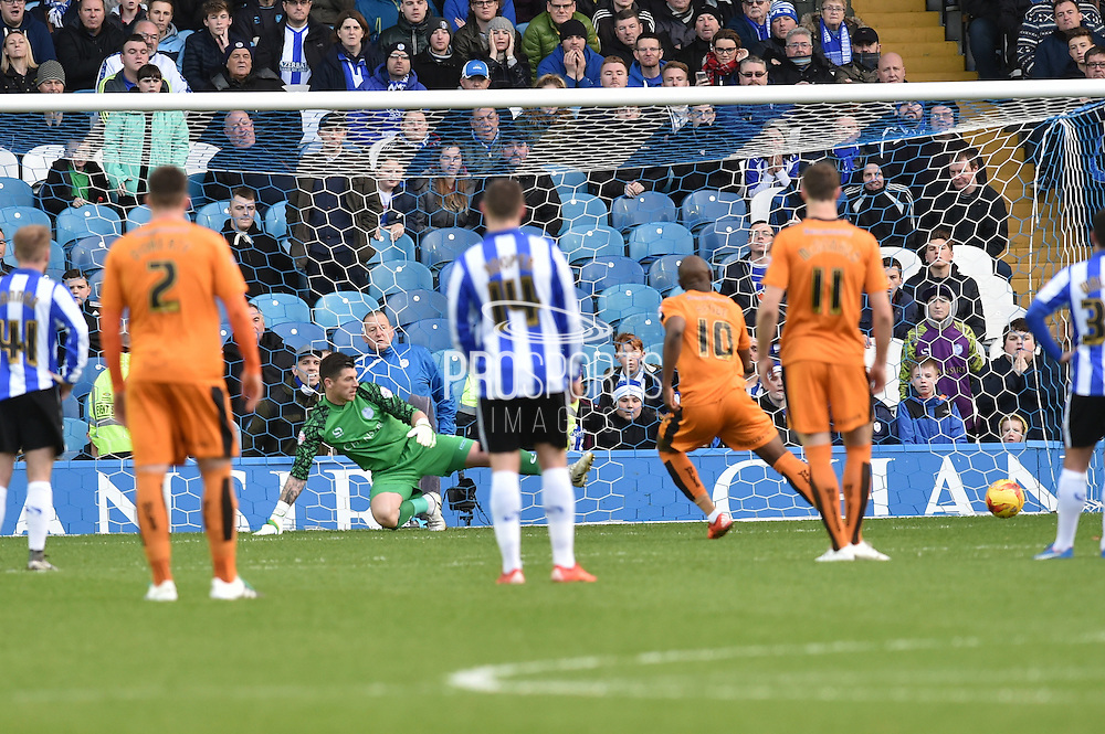 Wolverhampton Wanderers striker Benik Afobe scores penalty to go 1-0 up  during the Sky Bet Championship match between Sheffield Wednesday and Wolverhampton Wanderers at Hillsborough, Sheffield, England on 20 December 2015. Photo by Ian Lyall.