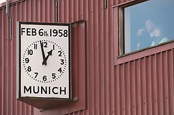 MANCHESTER, ENGLAND - Sunday, March 23, 2008: A memorial clock to the Munich Air disaster of 1958 at Manchester United's Old Trafford Stadium. (Photo by David Rawcliffe/Propaganda)