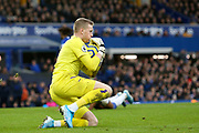 Everton goalkeeper Jordan Pickford (1) in action during the Premier League match between Everton and Chelsea at Goodison Park, Liverpool, England on 7 December 2019.